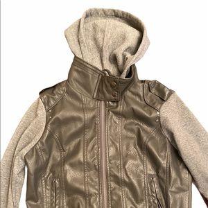 Leather Sweatshirt Jacket